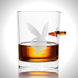 Playboy Shot Glass - Handmade Playboy Etched Rock Glass Shot Glass with Embedded Bullet