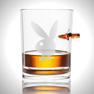 Handmade 'Bullet Embedded Playboy' Etched Shot Glass