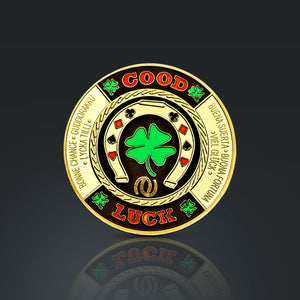24K Gold Plated 'Good Luck Clover' Poker Chip Card Guard