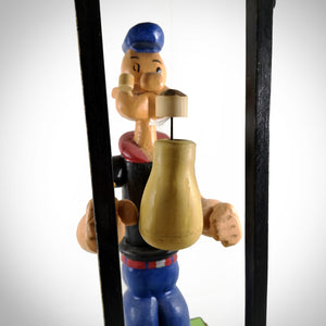 Popeye- Large Wooden Handcrafted 'Folk Art' Popeye With Mechanical Boxing Motion