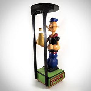 Vintage Popeye - Large Mechanical Boxing Motion/Handcrafted Wood Folk Art - RARE-T