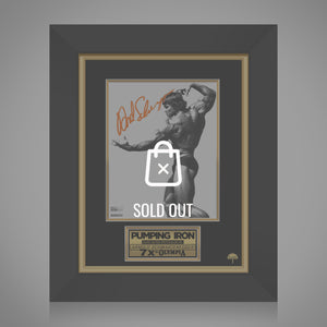 Pumping Iron 'Arnold In Famous Pose' Hand-Signed Movie Photo By Arnold Schwarzenegger Custom Frame