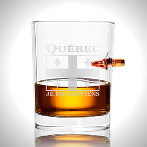 Quebec Shot Glass- Handmade Quebec Etched Rock Glass Shot Glass with Embedded Bullet