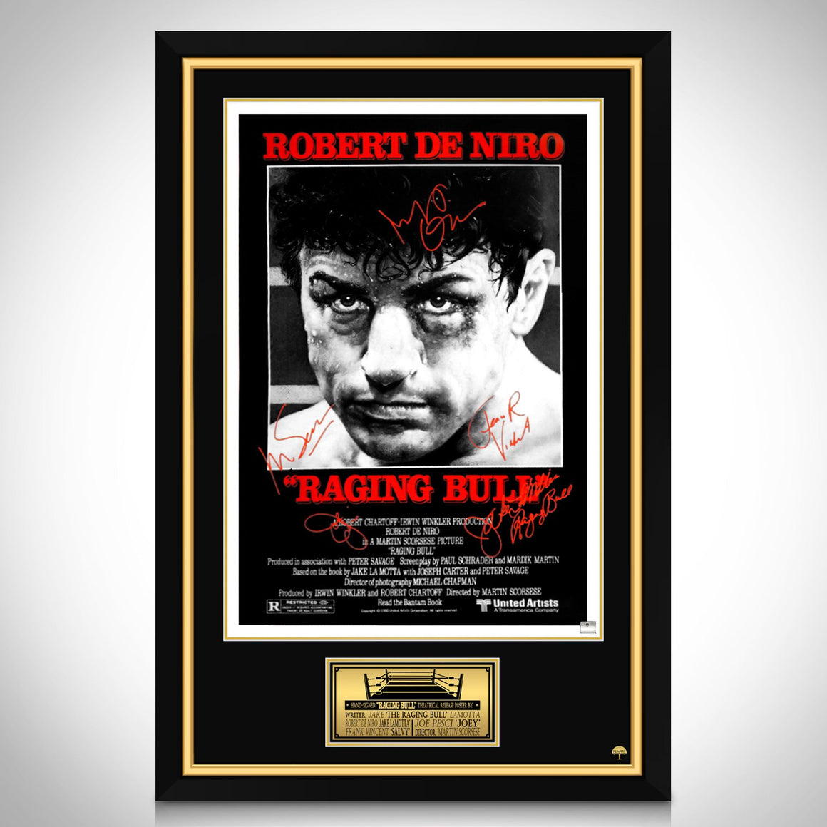 Raging Bull- Cast Hand-Signed Poster Custom Frame