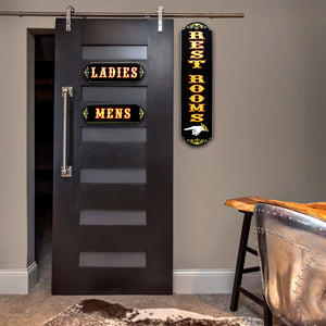Traditional Wood Plank Ladies & Men Gold Leaf Rest Room-Pointer Bar/Restaurant Signs
