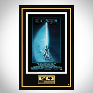 Star Wars-Return Of The Jedi Beckett Certified Cast Hand-Signed Original Vintage Poster Custom Frame