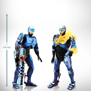 Robocop Vs Terminator- Flamethrower & Damaged Set of 2 Limited Edition Articulated Robocop Statues