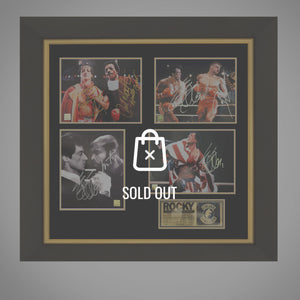 Rocky - 4 Hand Signed Photos By Sylvester Stallone, Carl Weathers, Dolph Lundgen & Mr.T. Rare-T Exclusive Custom Frame