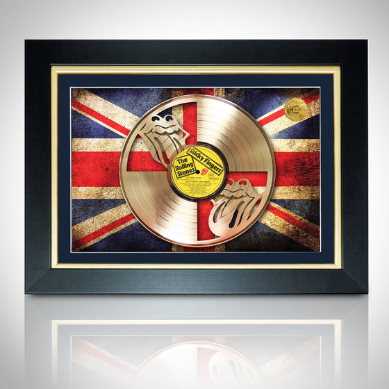 RARE-T Exclusive Limited Edition GOLD 'ROLLING STONES-STICKY FINGERS WITH UK FLAG' Custom Frame