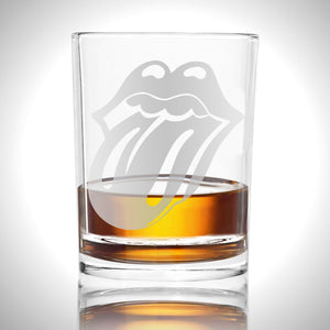 Handmade 'Rolling Stones'  Etched Rock Glass Shot Glass