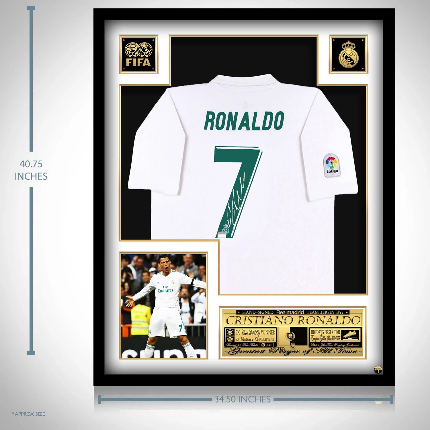 Cristiano Ronaldo Real Madrid Hand Signed Jersey By 7 Christiano Ron Rare T