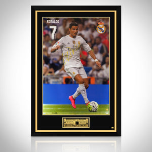 Cristiano Ronaldo-  Running with Ball Hand-Signed Real Madrid Poster Custom Frame