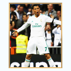 Cristiano Ronaldo- Real Madrid Hand-Signed Jersey By #7 Christiano Ronaldo Custom Frame