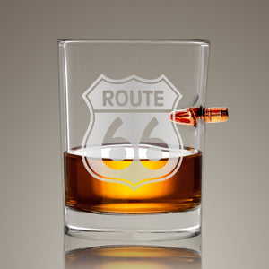 Route 66' Shot Glass - Handmade Route 66' Etched Rock Glass Shot Glass with Embedded Bullet