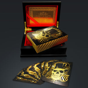 24K - SKULL HAT GOLD PLATED Playing Cards with Elegant Display Box