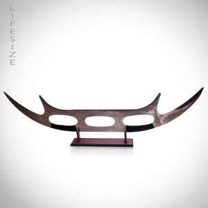 Star Trek Klingon Bat'leth Lieutenant Worf Scimitar Hook sword Life size Replica on Stand