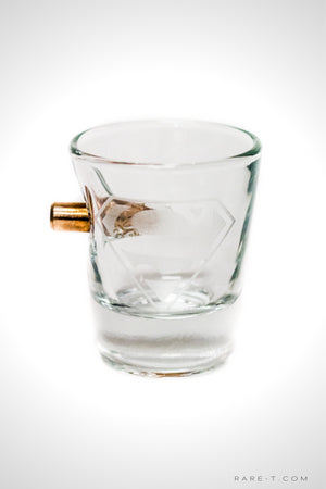 Handmade 'BULLET - SUPERMAN LOGO' Etched Shot Glass | RARE-T