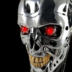 Terminator- T-800 Endoskeleton Life-size Skull Head With Electronic Red Light up Eyes Museum Display