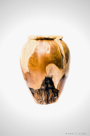 RARE-T | Hand-Sculpted 'RECLAIMED TEAK ROOT' Folk-Art Vase side view