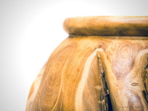 RARE-T | Hand-Sculpted 'RECLAIMED TEAK ROOT' Folk-Art Vase close up top of vase
