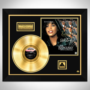 The Bodyguard Soundtrack Hand-Signed 24K Gold Plated LP by Whitney Houston & Kevin Costner Custom Frame