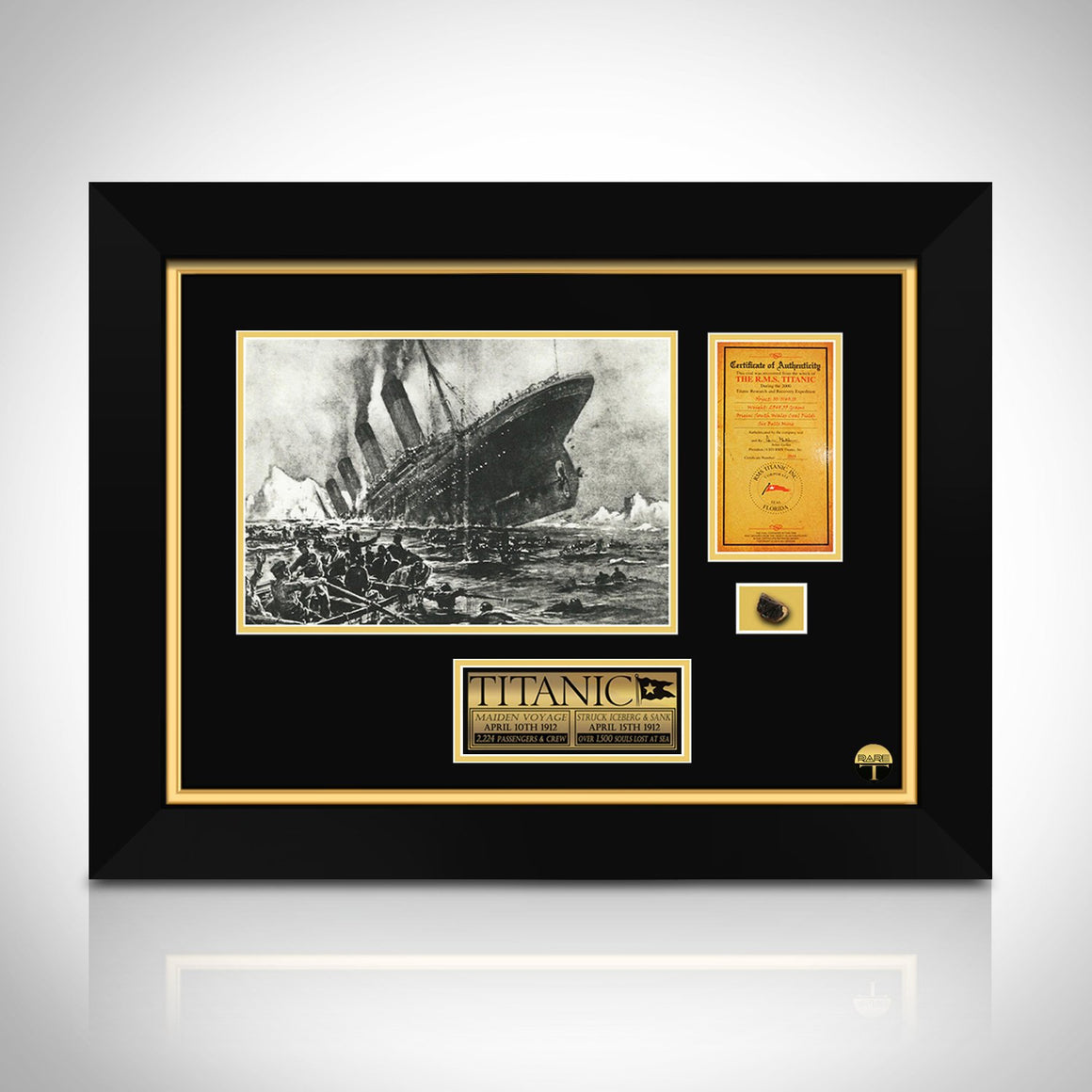Authentic TITANIC COAL- Hand-Signed Specimen by CEO of RMS Titanic Inc Custom Frame