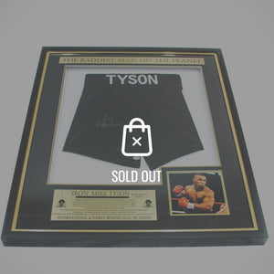 Mike Tyson - Hand-Signed Boxing Trunks Rare-T Exclusive Custom Shadow Box Frame