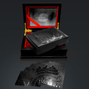 Obsidian Carbonite Black Diamond Playing Cards With Buddha Temple  Pattern