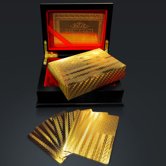 24K GOLD PLATED 'US FLAG' Playing Cards with Elegant Display Box