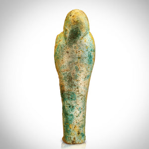 Ushabti Tomb Statue- Faience Glazed Ushabti Tomb Statue Dating From 664-332 BC Custom Museum Display