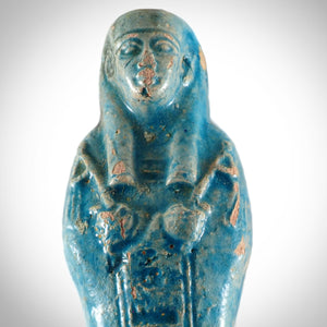 Ushabti Tomb Statue- Egyptian Faience Blue Glazed Ushabti Tomb Statue From 664-332 BC Museum Display