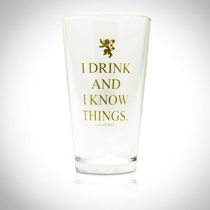 "Game Of Thrones - Tyrion Lannister ""I Drink And I Know Things"" Glass"