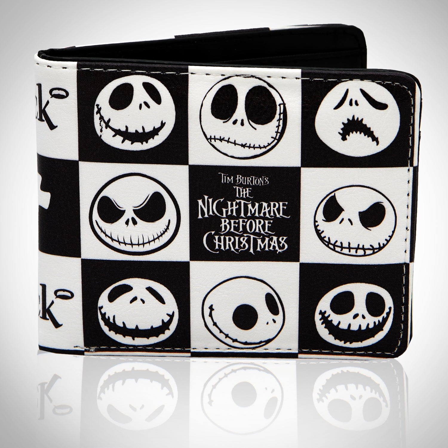 NIGHTMARE BEFORE CHRISTMAS - JACK\'S CHECKERED FACES Wallet - RARE-T