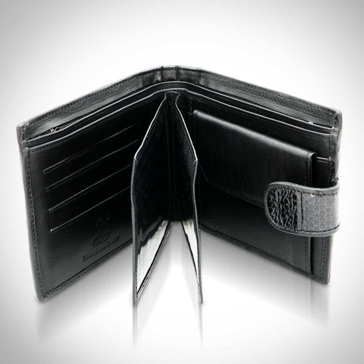 Authentic 'SNAKE SKIN' Black Bifold Wallet