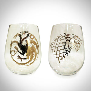 Game Of Thrones - Targaryen & Stark Stemless Wine Glasses