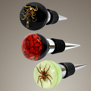 AUTHENTIC SCORPION, SPIDER & RED JASPER SET OF 3 WINE STOPPERS