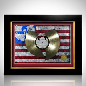Wu-Tang Logo With Us Flag Limited Edition Studio Licensed Laser Cut Gold Lp Custom Frame