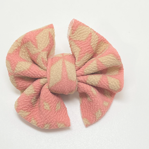 *D16 Tan & Pink Little girl Joy Bow Drop