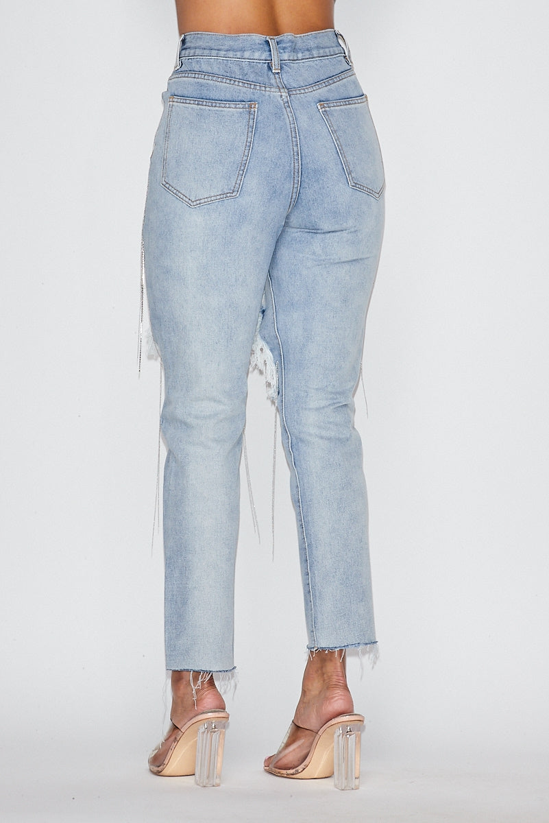 Rhinestoned Fringed Ripped Jeans