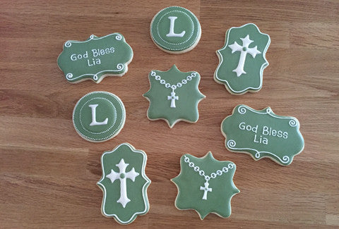 Baptism Set - Cross and Rosarie - Baking Fun - www.bakingfun.ca