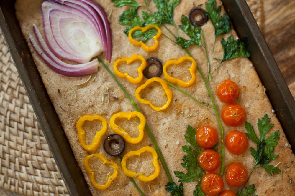 Keto Friendly Flatbread Topped With Vegetable Art