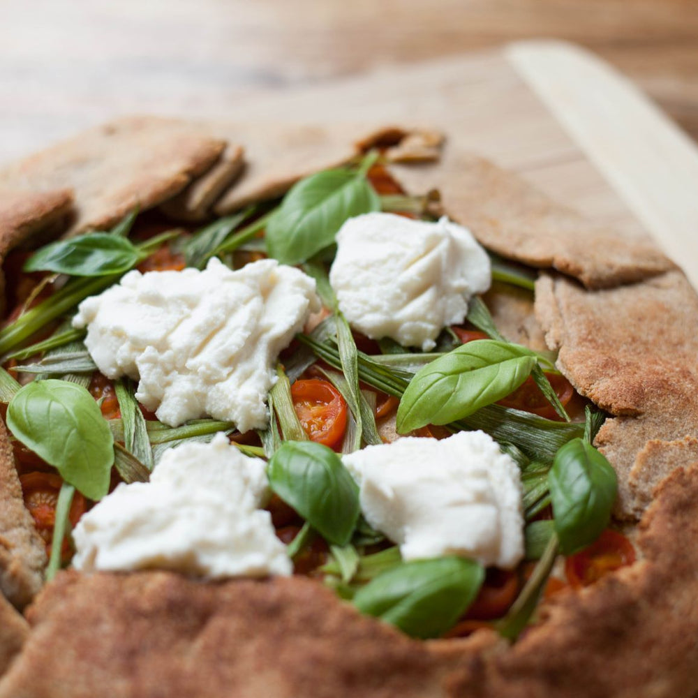 Low Carb Savory Flatbread with Cherry Tomatoes and Ricotta