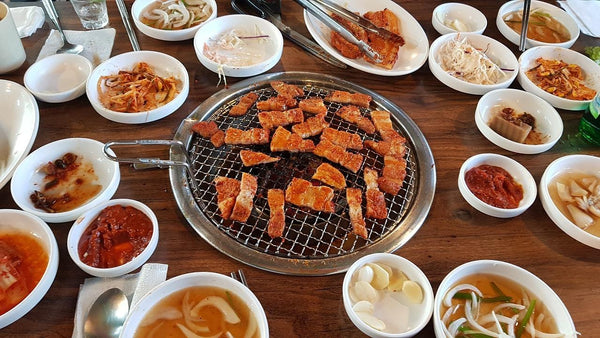 A variety of Korean barbecue dishes