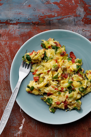 Plate of Mexican scrambled eggs