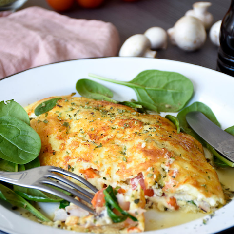 Cheese-Crusted Keto Omelet