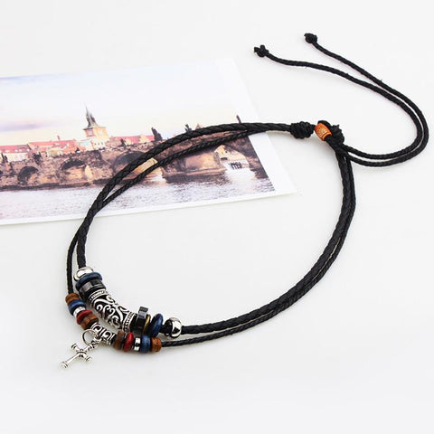 Bohemian Handmade Multilayer Wood Beads Alloy Cross Necklace