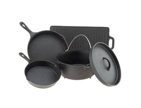 Outdoor Gourmet 5-Piece Cast-Iron Cookware Set -COOKING ACCESSORIES | TravDevil - 1