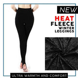 Heat Fleece Winter Leggings - Black / One Size