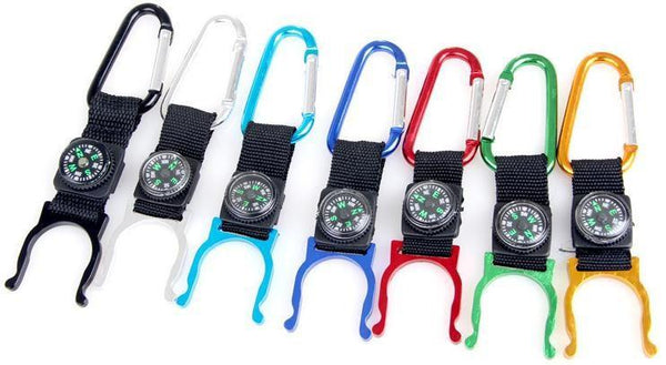 Outdoor climbing essential mineral water bottles hanging buckle with a small compass -OPTICS | TravDevil - 1