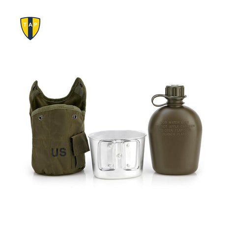 U.S. Army Water Bottle Aluminum+ Cooking Cup +US Camouflage Military Canteen -COOKING ACCESSORIES | TravDevil - 1